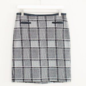Talbots Houndstooth Skirt with Faux Leather Trim